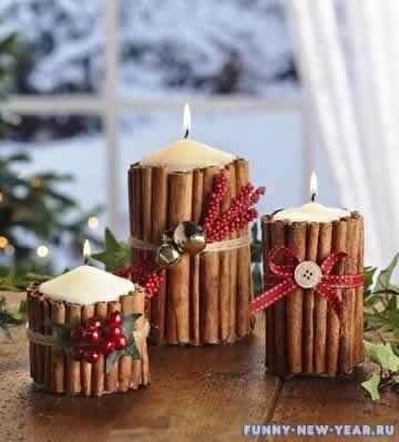 Декорируем свечи фетром и мешковиной
