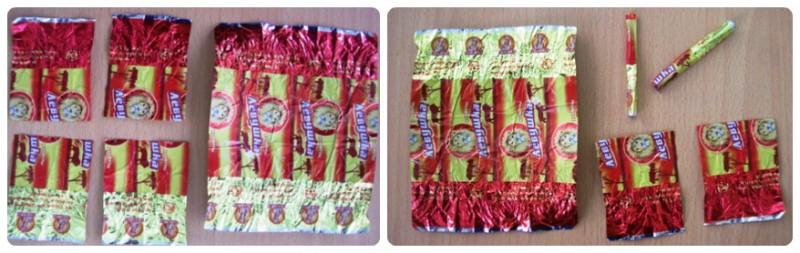 Как сделать гирлянду из конфетных фантиков