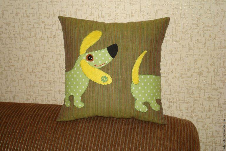 Декоративная подушка собачка своими руками 27