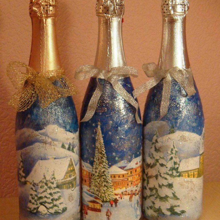 Красиво украшаем бутылку на новый год