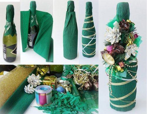 как сделать новогоднее украшение на бутылку своими руками