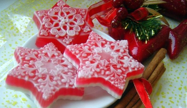 Soap in the form of snowflakes