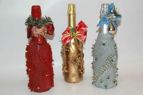 Поделки на новый год с бутылки шампанского