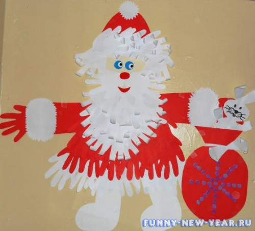 Аппликация «Портрет Деда Мороза»