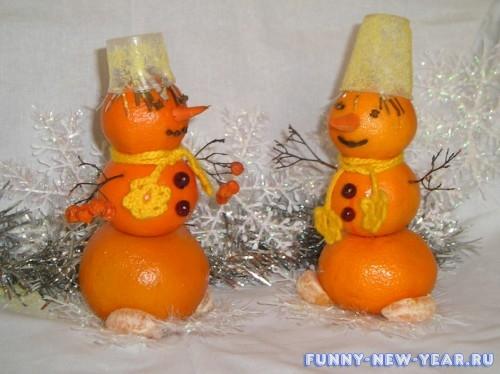 Снеговик из мандарина