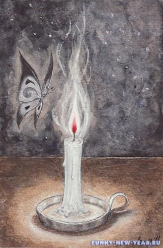 Свеча нарисованная карандашами