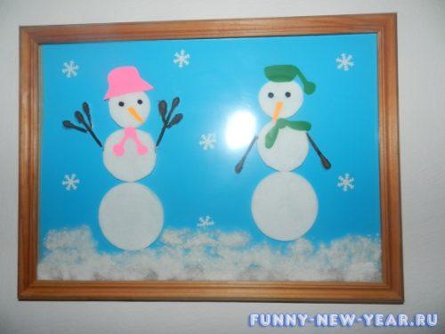 снеговик из цветной бумаги