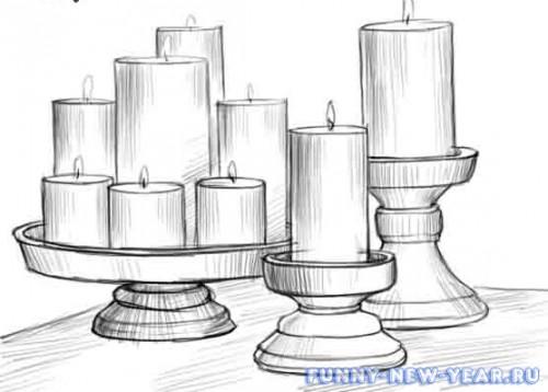 Свеча, нарисованная поэтапно