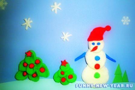 Снеговик из пластелина