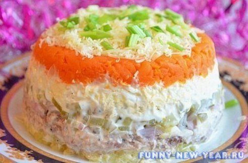 Салат из горбуши с морковью
