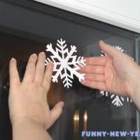 Аппликации на окна к Новому году 2017