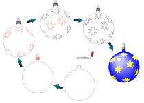 Новогодние шары поэтапно