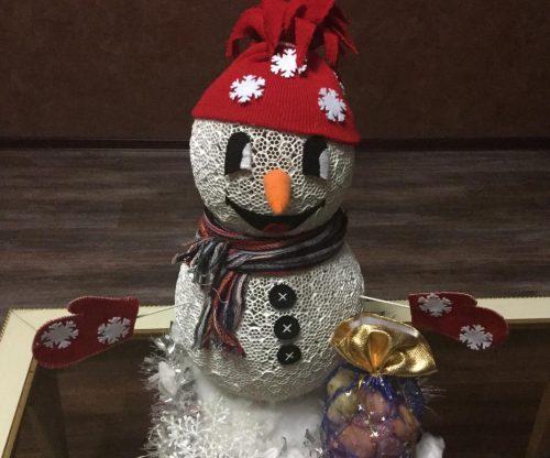 Дед мороз из ватных дисков поделка своими руками