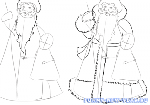 Как нарисовать деда мороза и снегурочку в открытке 4