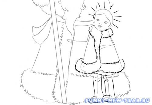 Как нарисовать деда мороза и снегурочку в открытке 5