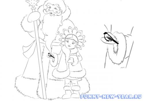 Как нарисовать деда мороза и снегурочку в открытке 7