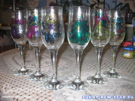 Украшение бокалов к новому году своими руками