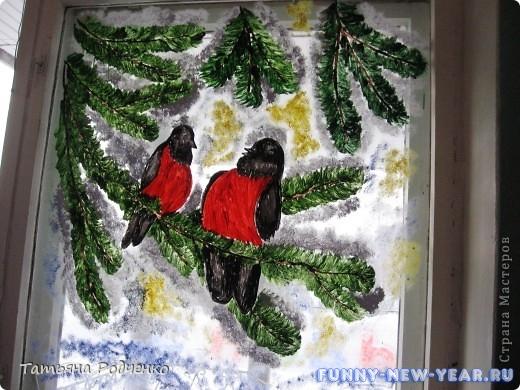 Рисовать гуашью на окне новый год