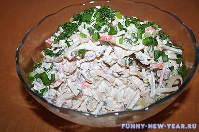 салат с кальмаров с майонезом