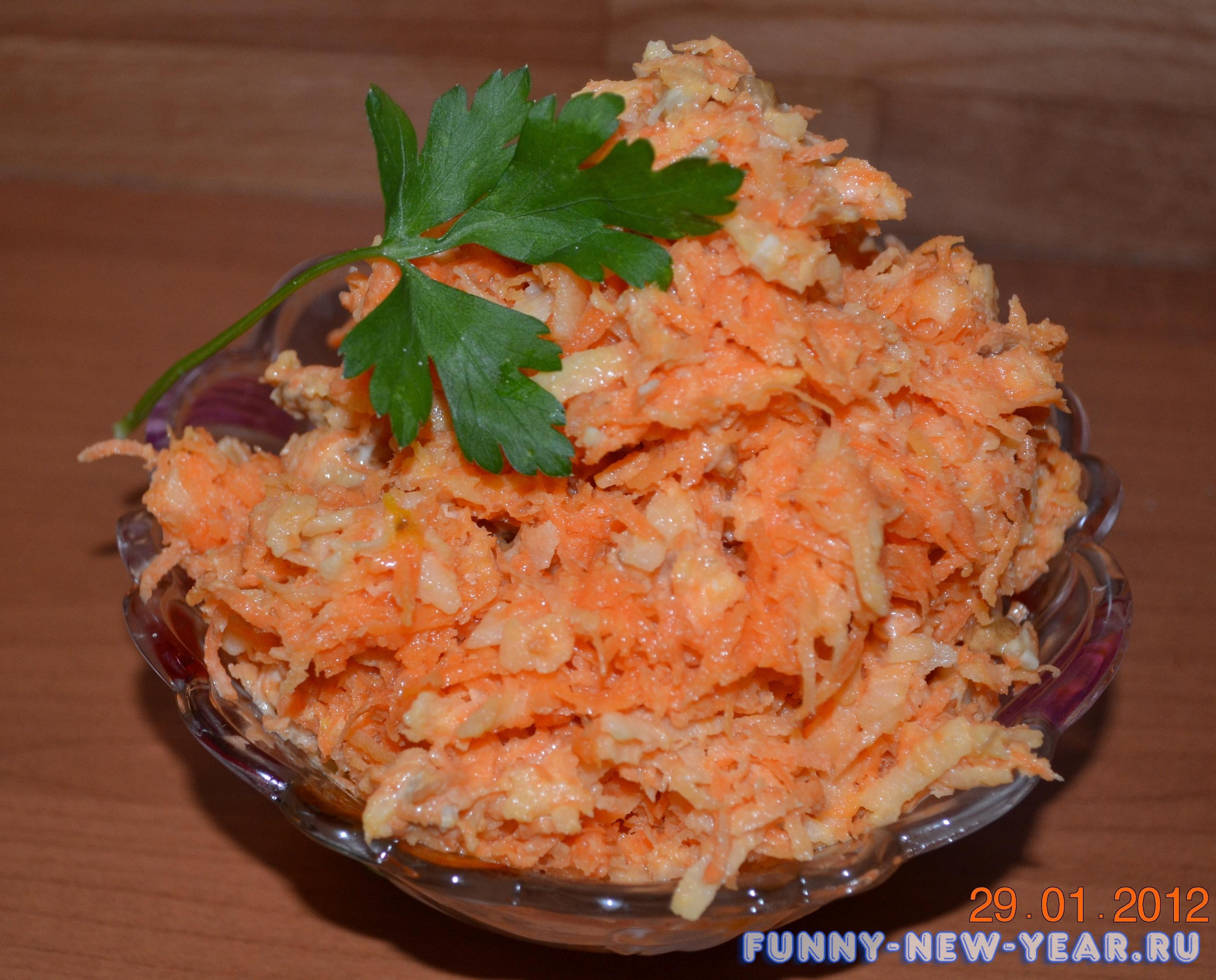 Салат из моркови с чесноком и яйцом рецепт с