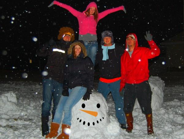 Fun on the street in the snow