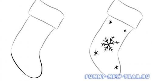 Как нарисовать носок для новогодних подарков карандашом