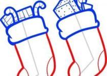 Как нарисовать носок для новогодних подарков поэтапно 3