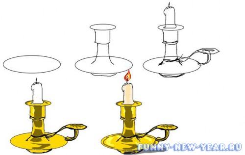 Как нарисовать свечу в подсвечнике
