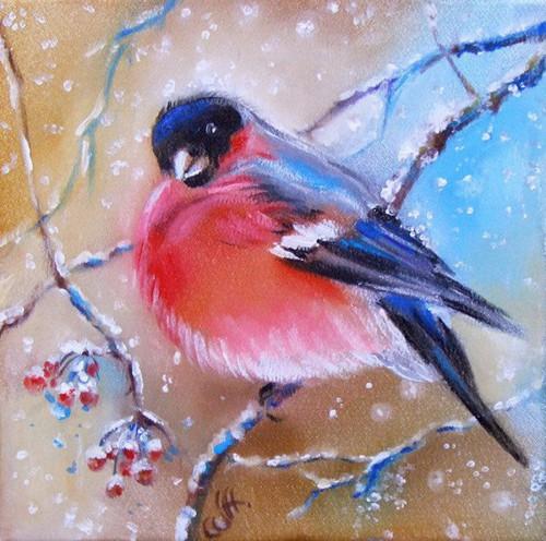 Как нарисовать снегиря краской
