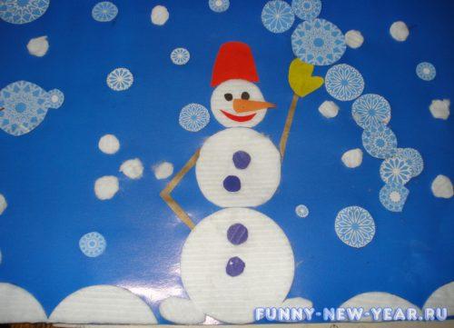 Аппликация «Снеговик из пластилина»