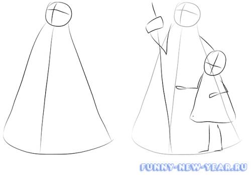 Как нарисовать деда мороза и снегурочку в открытке