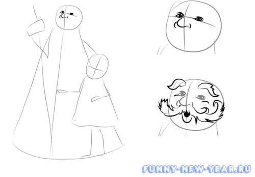 Как нарисовать деда мороза и снегурочку в открытке 2