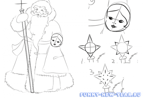 Как нарисовать деда мороза и снегурочку в открытке 3