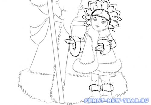 Как нарисовать деда мороза и снегурочку в открытке 6