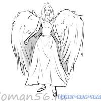 Рисуем красивого ангела к Новому году 2020 карандашами и красками
