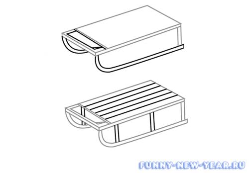 Как нарисовать санки карандашом поэтапно