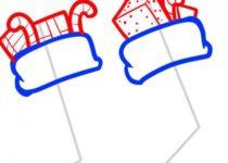 Как нарисовать носок для новогодних подарков поэтапно 2