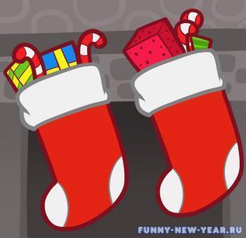 Как нарисовать носок для новогодних подарков красками