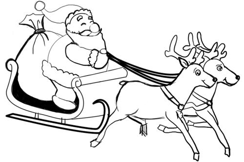 Санта на санях с оленями