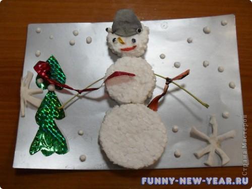 Аппликация «Снеговик из пенопласта»