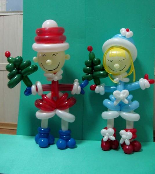 Новогоднее украшение воздушными шарами