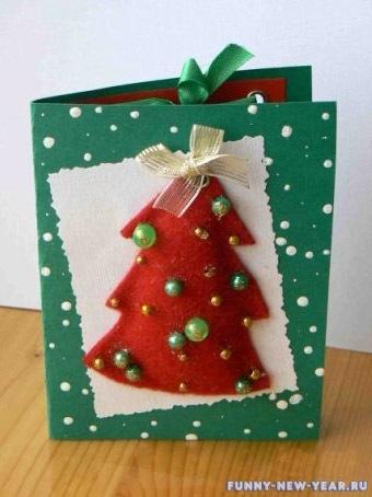 открытка в виде елки